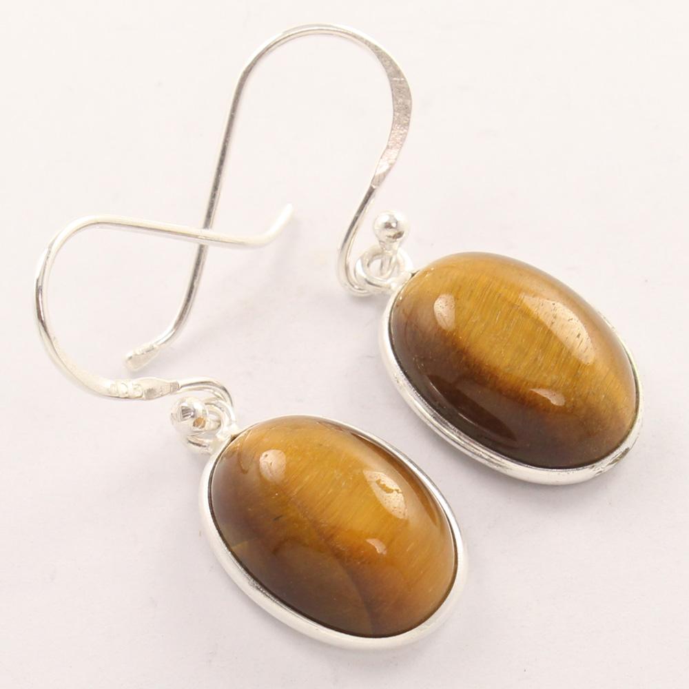 tiger eye 925 silver earrings