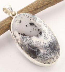 Dendritic agate sterling silver pendant